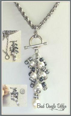 Swarovski Pearl & Crystal Beaded Pendant Necklace #248