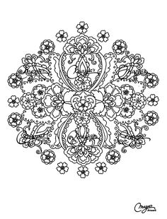 Free coloring page coloring-adult-mandalas-flowers. Mandala with leaves and vegetation