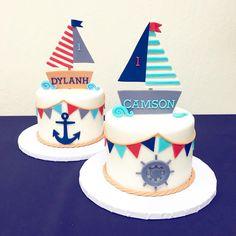 Sailboat fondant cake topper - Nautical party - Baby Shower -Sailboat cake topper - Nautical cake to Baby Cake Topper, Fondant Cake Toppers, Fondant Cakes, Cupcake Cakes, Fondant Baby, Cake Baby, Food Truck Party, Sailor Cake, Nautical Cake