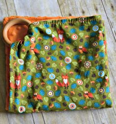 Teething Ring With Attached Fantastic Fox Print Blanket by 3LBCB, $18.00