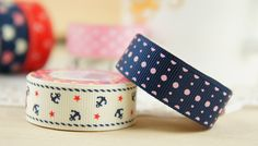 SET A - 2 rolls Patterned Rib Ribbon Sticky Tape -  1.8m x 1.5cm - Dark Blue and Pink Dots. White with Navy Anchor. Dots. Scrapbooking. $6.90, via Etsy.