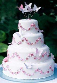 Torta mariposas y flores
