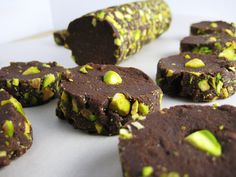 salted dark chocolate and pistachio shortbread