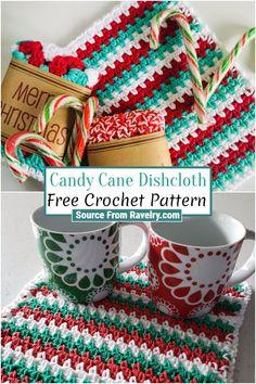 Free Crochet, Easy Crochet, Scrubby Yarn, Candy Cane, Crochet Dishcloths, Color Effect, Pretty Patterns, Crochet Patterns, Easy Projects
