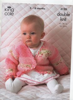 KING COLE BABY DK easy garter stitch cardigan, wrapover cardigan and vest top KNITTING PATTERN, to fit to Pattern is marked as used, but has been in one of my files. Baby Hat Knitting Pattern, Chunky Knitting Patterns, Knitted Baby Cardigan, Knitted Baby Clothes, Fancy Dress For Kids, King Cole, Baby Patterns, Clothes Patterns, Garter Stitch