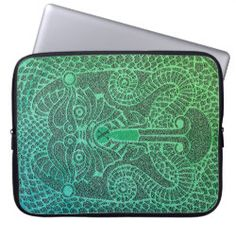 Customizable abstract Dragon Laptop Case green/blk Neoprene Laptop Sleeve, Laptop Sleeves, Copper Dragon, Custom Laptop, Front Bottoms, Norse Mythology, Celtic Designs, Day Up, Laptop Case