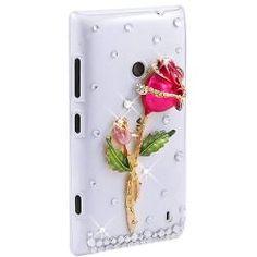 Cristal/Diamant/Bling Coque/Housse/Etui Arrière Rigide Motif Rose Pour Nokia Lumia 520
