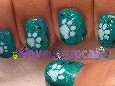 IHaveACupcake* Dog paws nail art video tutorial