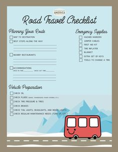 Printable Road Trip Checklist for my next road trip - extra spots for adding anything not on the list! From emergency supplies to travel prep. I HAVE to stay organized when I travel or I forget everything under the sun! LOVE this travel blog - inspires my never ending wanderlust!