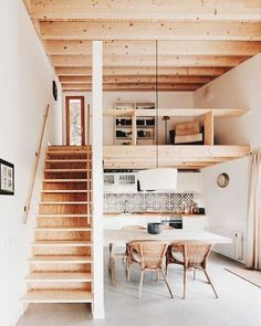 wood and white open loft space