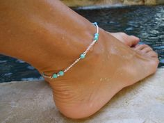 Diana Anklet, Turquoise Anklet, Silver Anklet