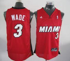 Adidas NBA Miami Heat 3 Dwyane Wade Swingman Red Jersey