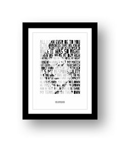 Amy Whinehouse  - typography song lyric poster art unframed limited edition print #23 by RetrotypePrints on Etsy