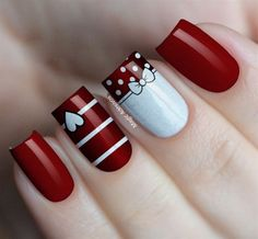 99 Stunning Diy Heart Nail Art Ideas For Valentines Day - - Heart nails - Red Nail Art, Pretty Nail Art, Red Nails, Maroon Nails, Nagellack Design, Nagellack Trends, Heart Nail Art, Heart Nails, Christmas Nail Art Designs