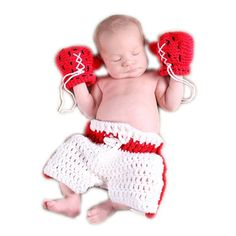 Handmade Ali Crochet Set Little Boxer outfit for Photography Prop Costume