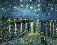 Amazon.com: Wieco Art - Starry Night Over the Rhone by Van Gogh Classic Oil Paintings Reproduction Modern Seascape Giclee Canvas Prints Artwork on Canvas Wall Art Ready to Hang for Living Room Home Decorations: Posters & Prints