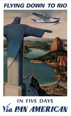 Pan American Airlines Poster for Rio de Janeiro, Brazil