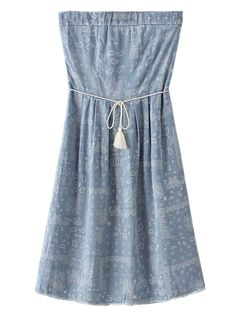 Buy Blue Strapless Paisley Print Tie Waist Denim Dress from abaday.com, FREE shipping Worldwide - Fashion Clothing, Latest Street Fashion At Abaday.com
