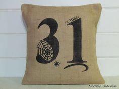 October 31st Burlap Pillow