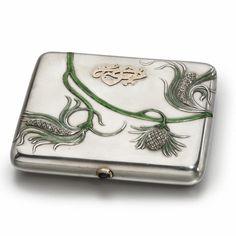 Fabergé Silver, Enamel and Diamond-Set Cigarette Case, Moscow, circa 1900