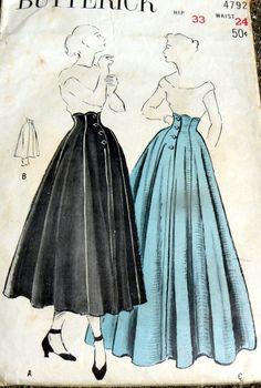 LOVELY VTG 1950s EVENING SKIRT BUTTERICK Sewing Pattern WAIST 24 | eBay