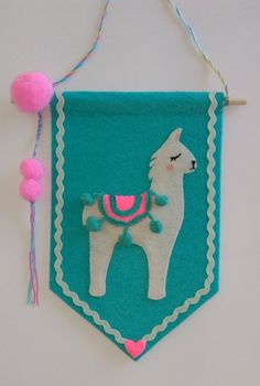 Drama Llama Bright handmade flag felt banner by TatiBatatiCrafts Book Crafts, Diy Crafts, Felt Banner, Felt Gifts, Hanging Banner, Flag Design, Animal Pillows, Felt Art, Felt Flowers