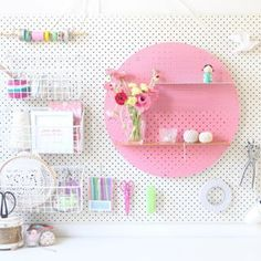 Pegboard styling with a Bride and Woolfe shelf from Jumbled Online