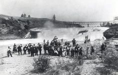 The earliest white settlers around the Spokane Falls in the Spokane Falls, Spokane River, Spokane Washington, Washington State, White Settlers, Huntington Park, Wa State, Evergreen State, Historical Pictures