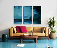 Triptych, 3 split, stretched, canvas, multi panel, prints, painting,  tower,castle,medieval,scenery,landscape,forest,trees,water,lake,river,bank,fortess,buildings,gothic,ghostly,haunted,night,midnight,fairy,tale,mythical,magical,mystical,mystery,myth,dreamlike,atmospheric,romantic,fantasy,moody,enchanting,whimsical,surreal,moon,kids,children,monochrome,blue,teal,shades,in,at,of,by,on,the,for,fine,art,oil,artworks,decor,artistic,items,products, for sale, pictorem,teal vision