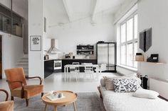 Loft apartment in vivid white