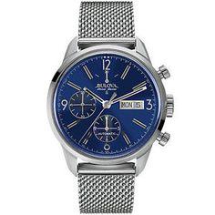 Bulova Accu Swiss Murren Men's 63C117 Chronograph Blue Dial 41mm Bracelet Watch