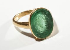 "Green chalcedony/Chrysoprase and 14k gold intaglio heraldic crest ring  sic viresco ""thus I flourish"" for the Christie clan.   $1300"