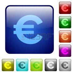 Conjunto de iconos, botones cuadrados con el signo del euro en varios colores.