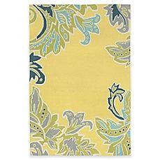 image of Trans-Ocean Ravella Ornamental Leaf Border Indoor/Outdoor Rug in Yellow