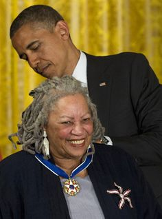 President Barack Obama awards author Toni Morrison the Medal of Freedom, May 29, 2012, during a ceremony in the East Room of the White House in Washington.