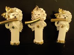 I went one step further with my pasta angel ornaments and turned them into flute player pasta angels, like me! Lol. I also made cellists and singers holding music.