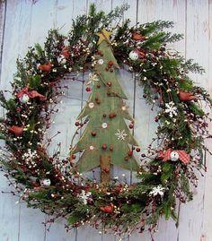 Couronne de Noël - Pine Tree guirlande - guirlande hiver - décor de vacances - Couronne - Holidays - extra-large guirlande - guirlande de fruits rouges de la cabine