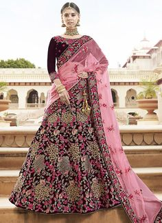Organza - Shop For Indian Lehenga Choli at Utsav Fashion - The largest online collection of lehenga, ghagra, chaniya choli in latest stunning designs. Indian Wedding Lehenga, Bridal Lehenga Choli, Indian Lehenga, Ghagra Choli, Silk Lehenga, Bollywood Lehenga, Lehnga Dress, Bollywood Wedding, Lehenga Blouse
