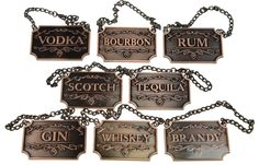 Liquor Decanter Tags Labels Set of Eight Copper Adjustable Chain Vintage Bottles Cobalt, Wedding Gifts For Newlyweds, Vodka Tequila, Home Wet Bar, Whiskey Decanter, Thing 1, Vintage Bottles, Liquor Bottles, Bourbon