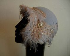 Fancy Vintage 30's Clothe Hat Adorned with by Planetclairevintage