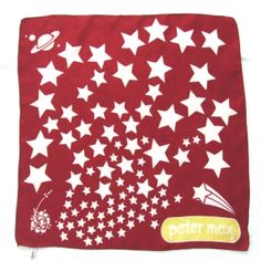 Peter Max Silk Scarf Stars Planet Rocket in by LinensandThings, $45.00