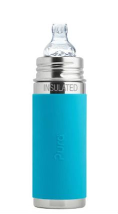 Pura Kiki 9 oz Stainless Steel Insulated Sippy Cup with Silicone Sleeve, Aqua. plastic-free bottle on the market; only NonToxic Certified bottles on the planet Crafted from safe, anti-bacterial, stainless steel and medical grade silicone. Toddler Bottles, Baby Bottles, Pura Kiki, Fancy Water Bottles, Plastic Bottles, Plastic Components, Cup With Straw, Bottle Feeding, Stainless Steel Bottle