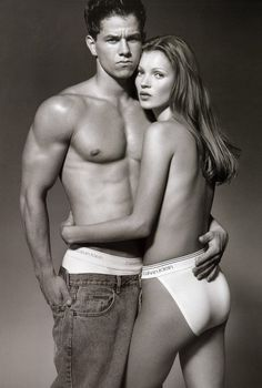 Marky Mark and Kate Moss in Calvin Klein's ads in the '90s