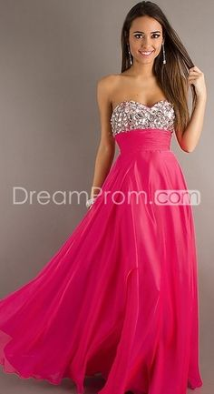 2014 Style A-line Floor Length Beaded Strapless Chiffon Prom Dresses 128.01 IDreamProm