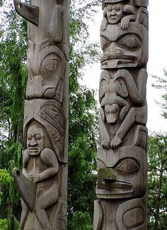 Ancient Americas cultural and Racial Affinities with Africa Canadian Native American Totem Totem Pole Art, Le Totem, Tiki Totem, Arte Haida, Haida Art, Native American Totem, Native American History, American Symbols, American Indians
