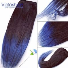 Brown to Blue Ombre Dip Dyed Human Hair Extensions  #dip dyed #hair extensions http://www.vpfashion.com/two-colors-ombre-indian-remy-clip-in-hair-extensions-m02b1-p-8823.html