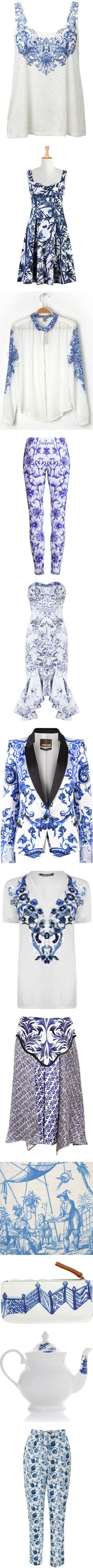 """""""Blue and White"""" by maryedent ❤ liked on Polyvore"""