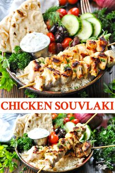 Marinated grilled Chicken Souvlaki with Tzatziki Sauce is perfect tucked inside pita served over rice or piled on top of a crisp salad. The simple Greek chicken skewers are an easy and healthy dinner with tons of fresh flavor! Greek Chicken Skewers, Greek Chicken Pita, Greek Marinated Chicken, Greek Pita, Greek Salad With Chicken, Pita Recipes, Greek Recipes, Grilling Recipes, Salad Recipes