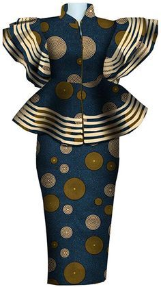 ankara peplum blouse and skirt styles African Dresses For Kids, African Wear Dresses, Latest African Fashion Dresses, African Print Fashion, African Attire, Ankara Dress Styles, Africa Fashion, African Print Dress Designs, African Print Skirt