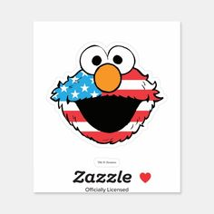 Pegatina Elmo patriótico | Zazzle.com Elmo, Decorated Water Bottles, Tablets, Vinyl Sheets, Big Bird, Personalized Stickers, Food Themes, Kids Shows, White Ink